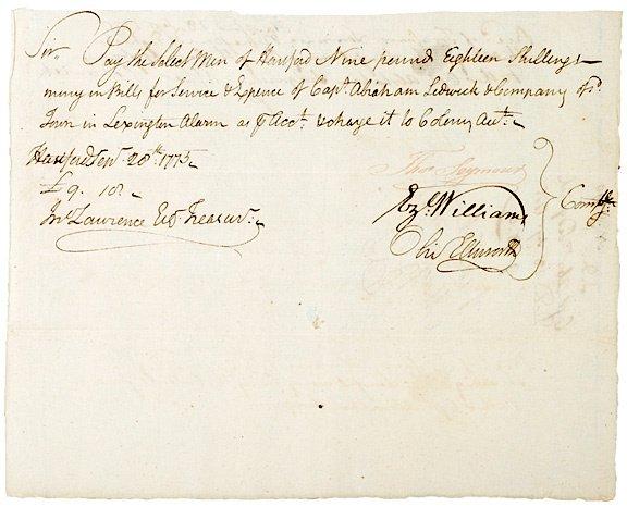 3018: Oliver Ellsworth Signed Document, 1775