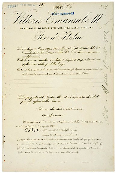 3019: King VICTOR EMMANUEL III Signed Document