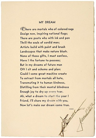 3020: J.T. EMME Signed Poem 1932 - My Dream