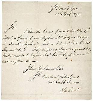 Lot 2: 1794 Jeffrey Amherst Letter Signed