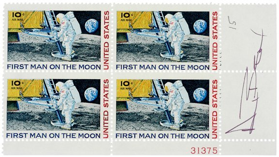 Lot   4: Postage Stamps Signed by  ASTRONAUT Alan Bean
