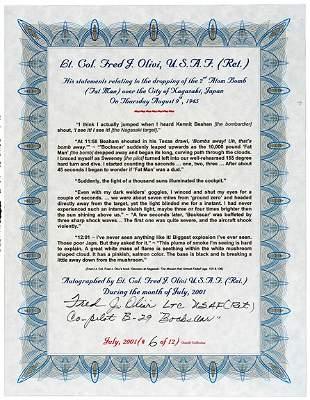 Lot 11: A-Bomb Co-Pilot Signed Document