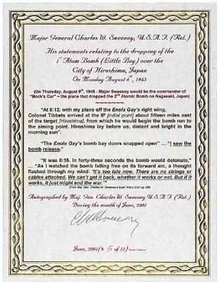 Lot 12: Atomic Bomb Pilot Signed Document