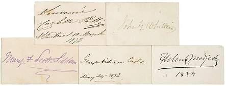Lot 13: Five 19th Century Authors Autographs