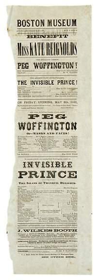 Lot 15: 1862 John Wilkes Booth Playbill Broadside