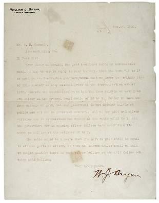 Lot 17: 1900 William Jennings Bryan Letter Signed
