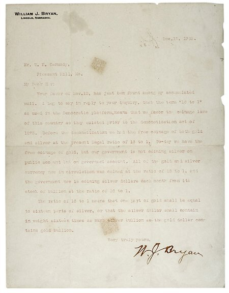 Lot  17: 1900 William Jennings Bryan Letter Signed