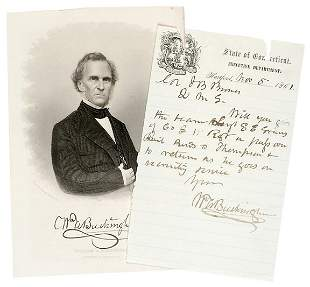 Lot 18: 1861 William A. Buckingham Signed Letter