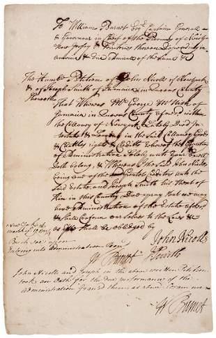 Lot 19: William Burnet Twice Signed Document - 1723