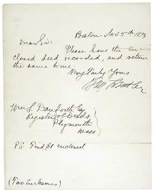 Lot 20: Benjamin Butler Signed Note 1873