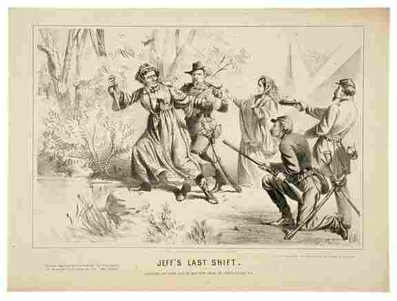 Lot 429: 1865 Civil War Lithograph JEFF'S LAST SHIFT