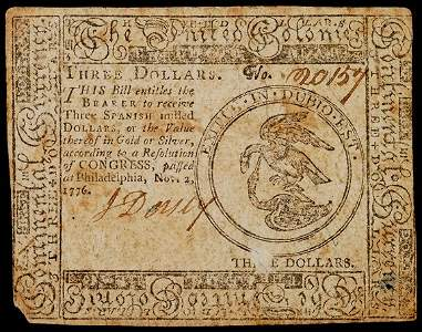 Lot 640: Continental Currency, November 2, 1776, $3