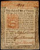 Lot 734: Colonial Currency, PA, March 20, 1771, 20s
