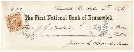 GENERAL JOSHUA LAWRENCE CHAMBERLAIN Signed Check