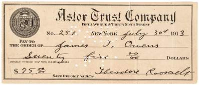 1913 THEODORE ROOSEVELT Signed Check