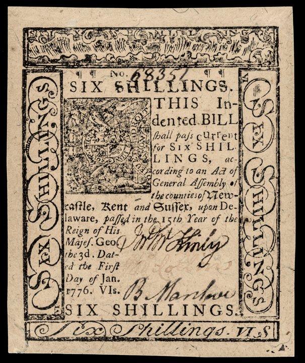 Colonial Currency DE. Jan 1776 PMG GEM UNC 65EPQ