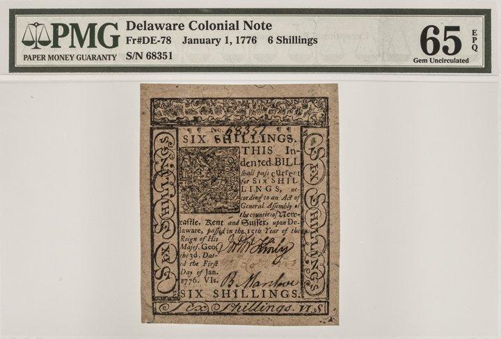 Colonial Currency DE. Jan 1776 PMG GEM UNC 65EPQ - 3