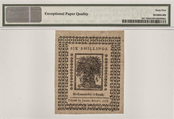 Colonial Currency DE. Jan 1776 PMG GEM UNC 65EPQ - 4