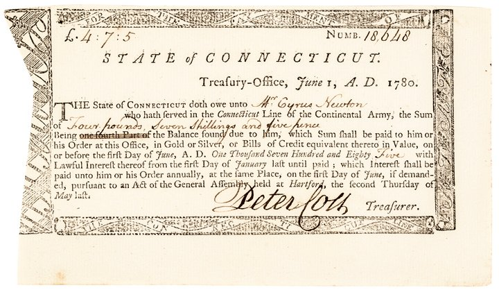 1780 Revolutionary War Connecticut Army Pay