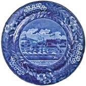 1824 Blue Staffordshire Landing of Gen LaFayette