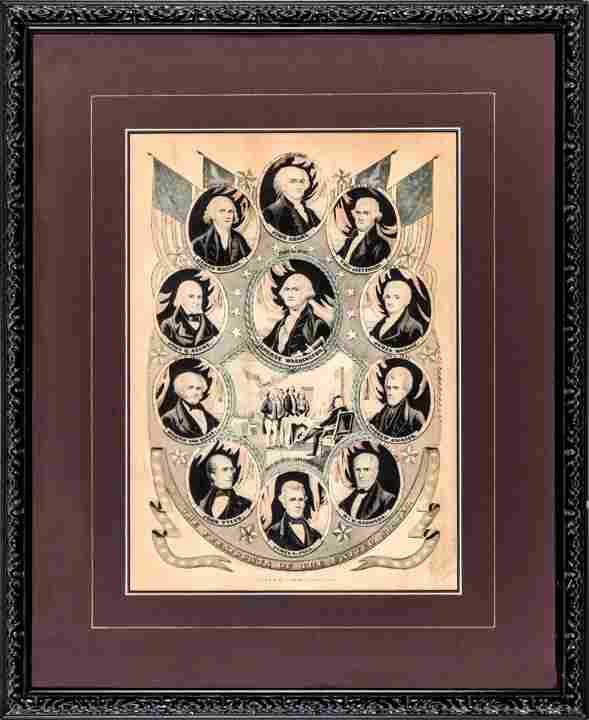 Currier Lithographic Print of 11 U.S. Presidents