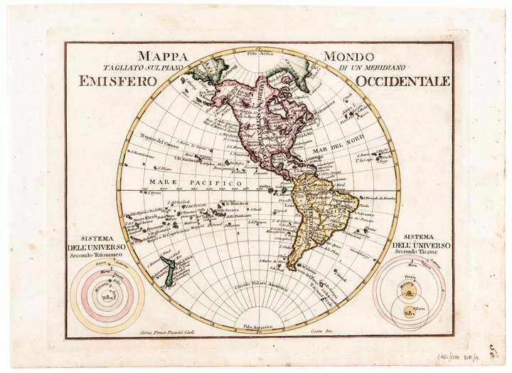 "c. 1760s, Hand-Colored World Map, ""Mappa Mondo"""