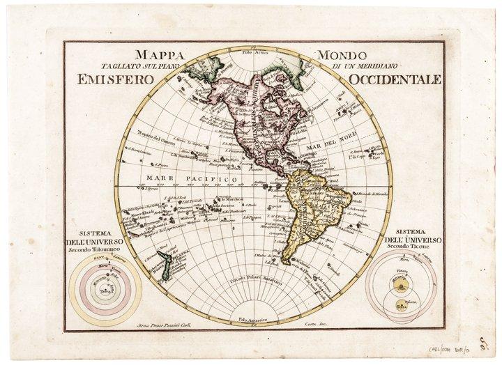 """c. 1760s, Hand-Colored World Map, """"Mappa Mondo"""""""