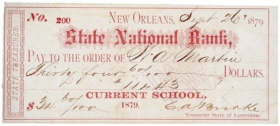 2003: E.A. BIRRKE, Check Signed, 1879