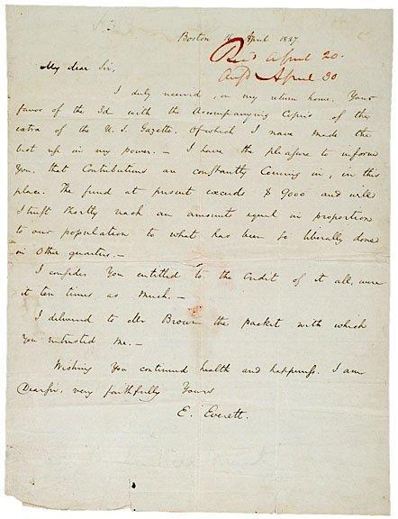 2004: EDWARD EVERETT, Autograph Letter Signed, 1827