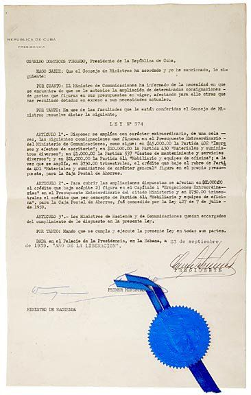 FIDEL CASTRO, Document Signed, 1959