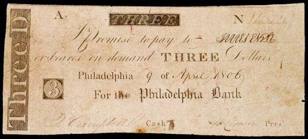 2008: Obsolete Currency,1806, The Philadelphia Bank, $3