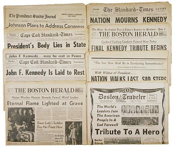 2013: JOHN F. KENNEDY - Nine Assassination Newspapers