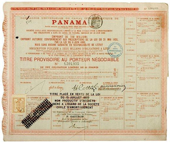 2016: PANAMA CANAL, Original Bond Certificate, 1889