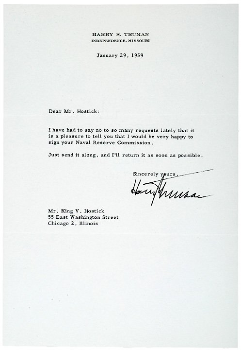 2021: HARRY TRUMAN, Typed Letter Signed,1959