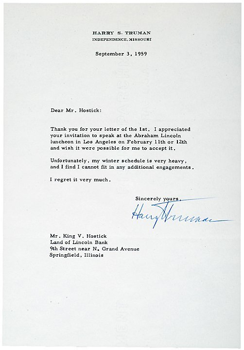 2022: HARRY S TRUMAN, Typed Letter Signed, 1959