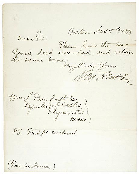 3004: BENJAMIN F. BUTLER, Signed Note 1873
