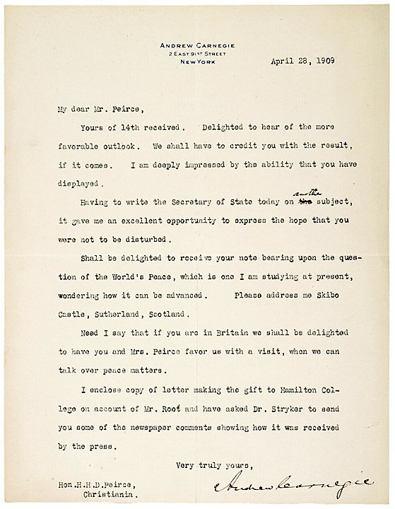 3005: ANDREW CARNEGIE, 1909 Typed Letter Signed