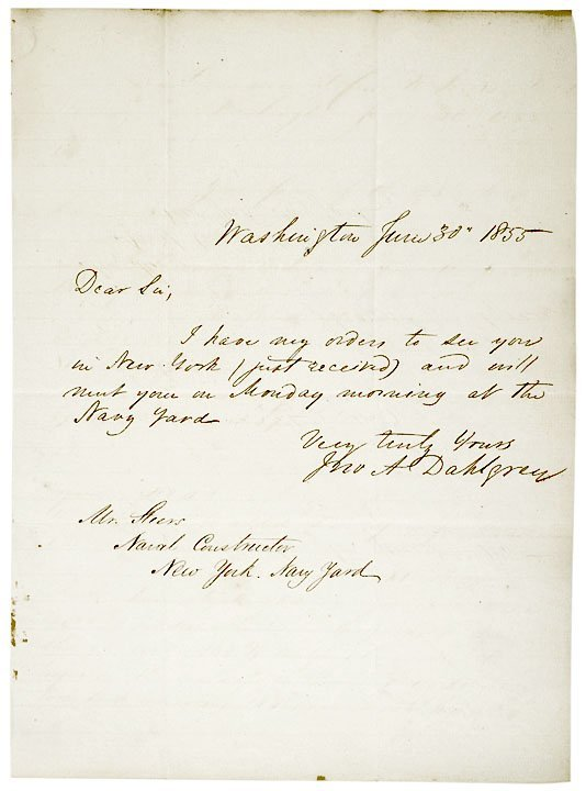 3009: Admiral JOHN A. DAHLGREN, Signed Letter 1855