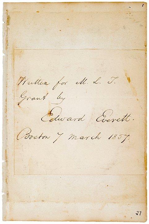 3011: EDWARD EVERETT, Autograph Note, 1857