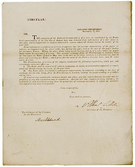 3012: ALBERT GALLATIN Signed Document, 1810