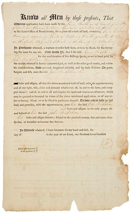3016: JOHN NICHOLSON, Pennsylvania Land Grant