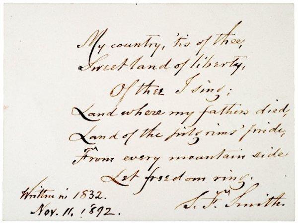 3017: SAMUEL FRANCIS SMITH, Autograph Manuscript Signed