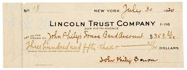 3018: JOHN PHILIP SOUSA, Signed Check, 1920