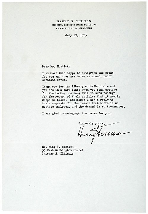 3019: HARRY S TRUMAN Typed Letter Signed 1955