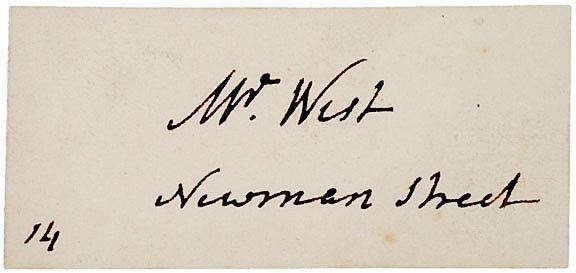 3022: BENJAMIN WEST Visiting Card Signed