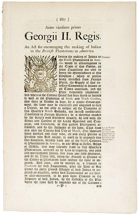 3023: Indigo Production in American Colonies, 1748 ACT