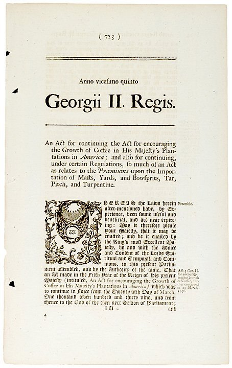 3024: British ACTS Relating to Coffee and Sugar, 1748