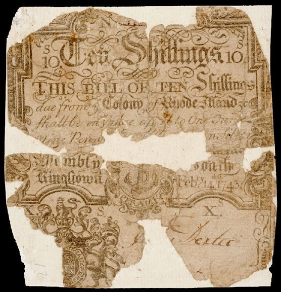3099: Colonial Currency, RI, February 14, 1743, 10s