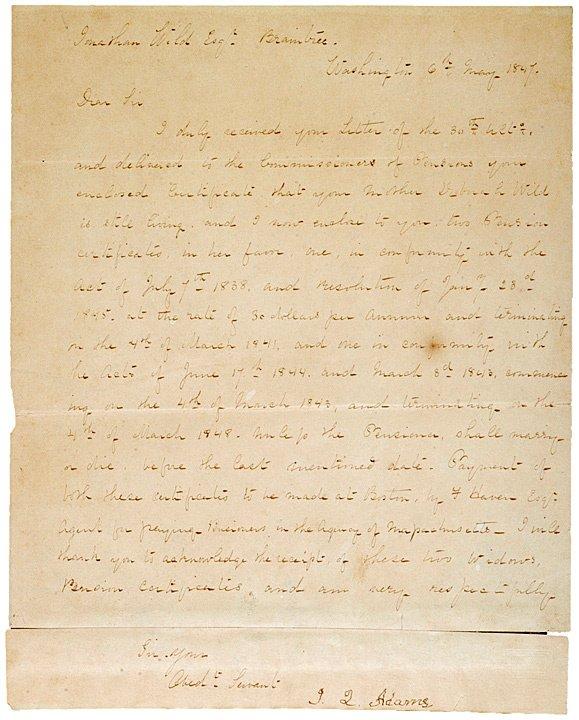 1: JOHN QUINCY ADAMS, 1847 Letter Signed
