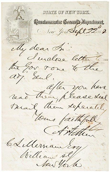 4: President CHEST A. ARTHUR, 1862 Autograph Letter